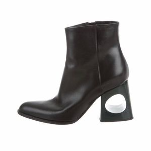Black leather Marni pointed-toe ankle boots